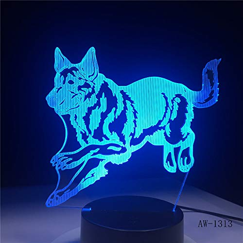 Pastor Alemán Hunter Hunter 3D Night Light Holograma 3D Luces decorativas Lámparas...