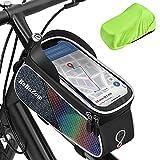 Bolsa de Cuadro de Bicicleta, Bolsa Manillar Bici Impermeable con Soporte para Telefono Móvil y Cubierta de Lluvia, Bolsa para Cuadro Bicicleta Montaña MTB para Smartphones de Menos de 7 Pulgadas