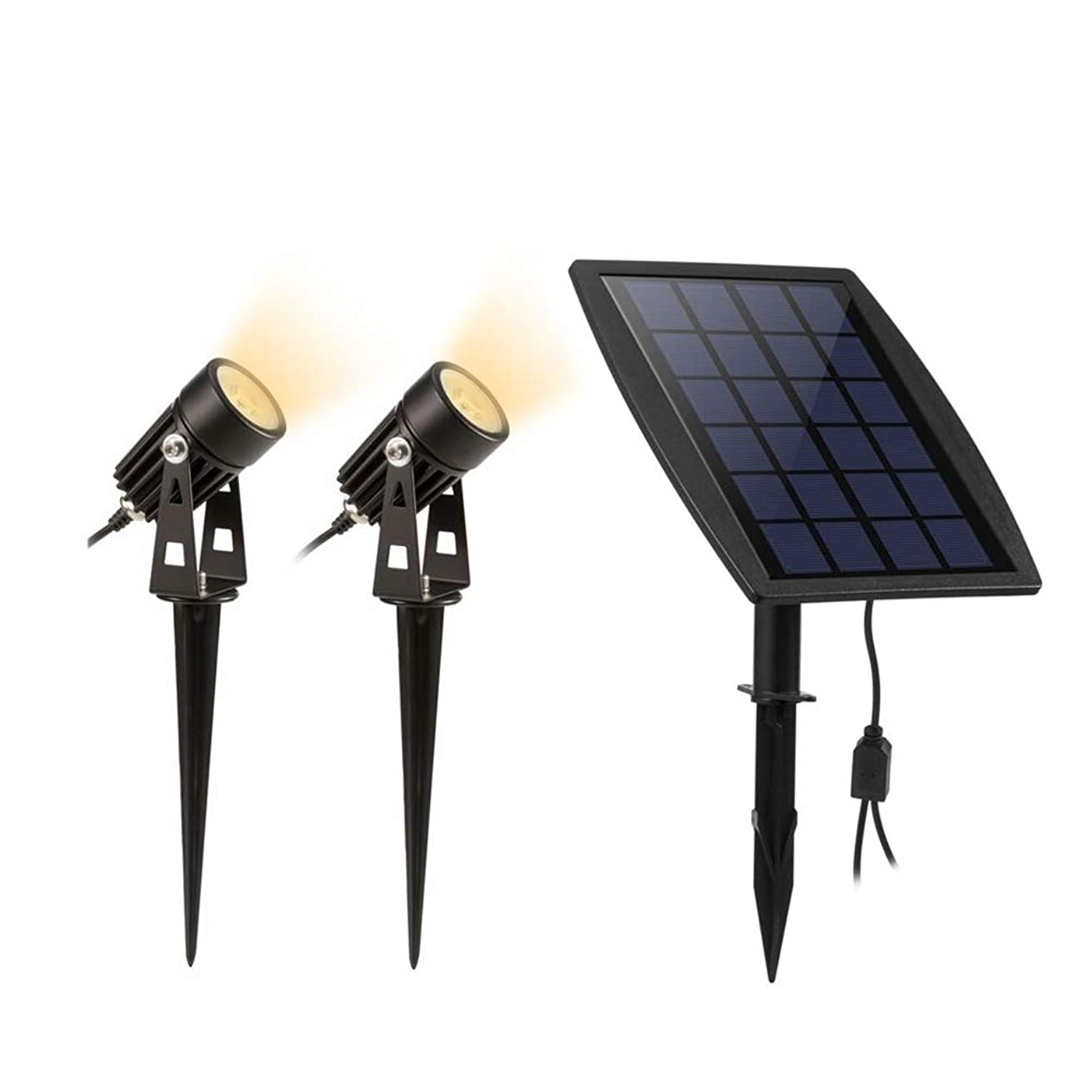 検出する追う液体ソーラーライト LED スポットライト ガーデンライト 太陽光発電 夜間自動点灯 IP65防水 設置簡単 玄関 庭先(電球色)