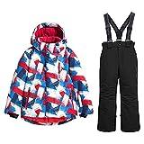 HSYD Kinder Snowboard Skihose/Jacke, Skianzug 2 Stück Set Für Jungen-Mädchen, Ski Outfit Snowboard Snowsuit Jumpsuit Sets,Black 1,10