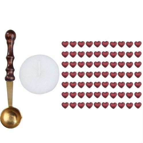 Nelnissa, 1 set di perline di ceralacca a forma di cuore con candela cucchiaio di fusione, 12 colori Rosso vinaccia