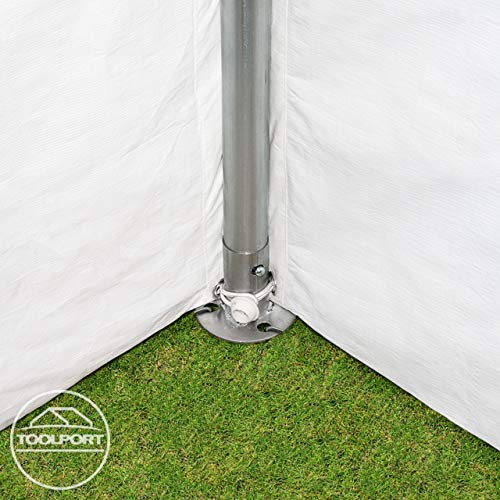 TOOLPORT Partyzelt Pavillon 4x8 m in weiß 180 g/m² PE Plane Wasserdicht UV Schutz Festzelt Gartenzelt - 6