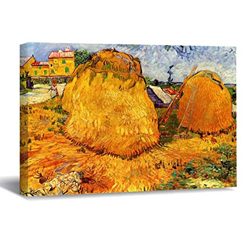 """Van Gogh Haystacks In Provence Canvas Picture Painting Artwork Wall Art Poto Framed Canvas Prints for Bedroom Living Room Home Decoration, Ready to Hanging 24""""x36"""""""