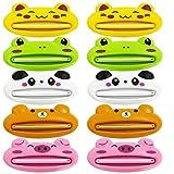 YuCool - Dispensador de exprimidor de tubo de pasta de dientes, 10 unidades de dibujos animados de plástico para pasta de dientes para baño, panda, cerdo, rana, oso y gato