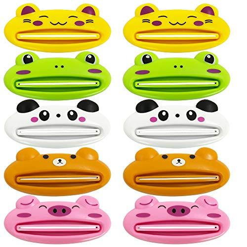 Dispensador de pasta de dientes YuCool, 10 unidades de clips de plástico para pasta de dientes de animales de dibujos animados para baño, panda, cerdo, rana, oso, gato