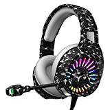 ZIUMIER Z20 Pro Camo Gaming Headset for PS4, PS5, Xbox One, PC, Wired Over-Ear Headphone with Noise Isolation Microphone, RGB LED Light, 7.1 Surround Sound, Camouflage Grey