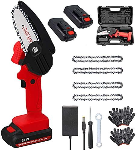 Motosierra eléctrica con batería de 4 pulgadas, mini motosierra eléctrica portátil, con batería, 24 V, 550 W, con 2 pilas y 4 cadenas, con pared sonora, color rojo
