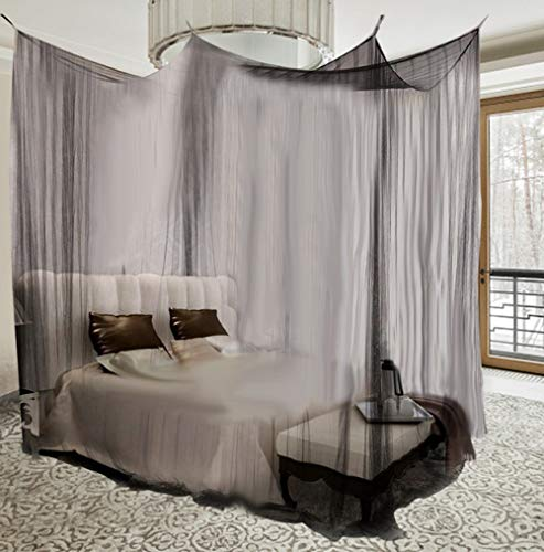 LJQLXJ Mosquitera Mosquito Net Black White For Double Four Corner Bed Post Bed Canopy Mosquito Net Full Queen King Size Bedding,Black