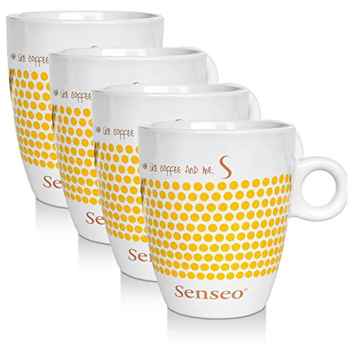 4 x Senseo Design Fussball EM Sonderedition gelb Porzellantasse Kaffeetasse 160 ml