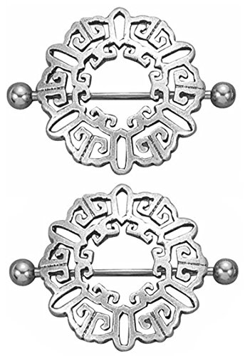Pair of Nipple Rings Aztec Tribal Celtic Shields Body Jewelry Piercing bar Barbell Shield Ring- 14 Gauge 14g