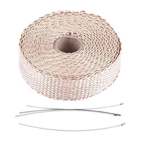 rohr wrap, Abgaswärme-Wrap, 5 m Auto-Isolierband-Abgaswärme-Wrap mit 4 Edelstahl-Kabelbindern(Beige)