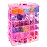 SGHUO 6-Tier Stackable Storage Container with 60 Compartments Plastic Craft Lego Storage Container with Adjustable Dividers for Barbies, Fuse Beads, Washi Tapes, Christmas Decor
