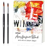 int!rend Blocco per Pittura acrilica, Carta da Disegno, 400 g Pad DIN A4, 25 Fogli, Bianco...