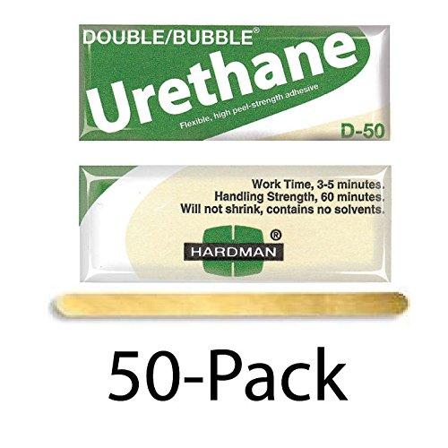 Hardman/Kalex #04022 - Double Bubble Urethane Adhesive Green/Beige-Label D50 High Shear Strength - 50-Pack