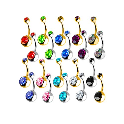 Lumous Rola Surgical Steel belly Piercing Bars Silver Gold Colour, 20 Double Gem Navel Rings Button Jewellery, Belly Piercing Jewellery 20 Jewellery Piercing Navel Rings