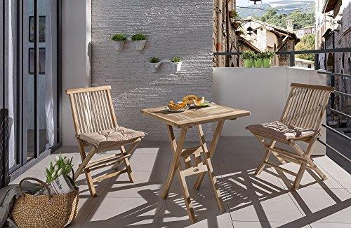 SAM 3tlg. Balkongruppe Samo, Teak-Holz Gartengruppe, 1 x Tisch + 2 x Klappstuhl Menorca