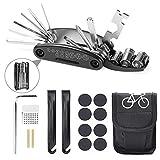 Kit de Herramientas para Bicicleta, Etercycle 16 en 1 Herramienta Multifunción de Reparación de Bicicletas, Herramienta de Reparación de Bicicletas Montaña con kit de Parche y Palancas de Neumáticos