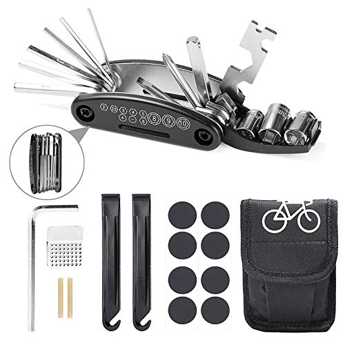 Etercycle Bike Tool Kit, 16 in 1 Multifunction Bicycle Repair Tool, Mountain Bike Fix Tool with Patch Kit and Tire Levers