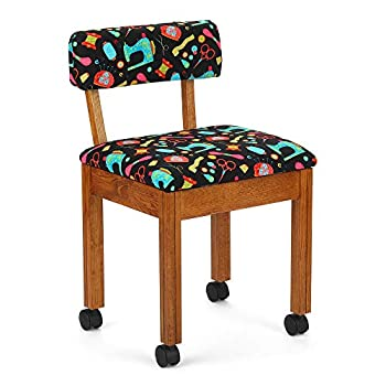 Arrow 7000B Wood Sewing and Craft Chair with Under Seat Storage Print Upholstery Fabric by Riley Blake Oak with Black Notions Print Fabric