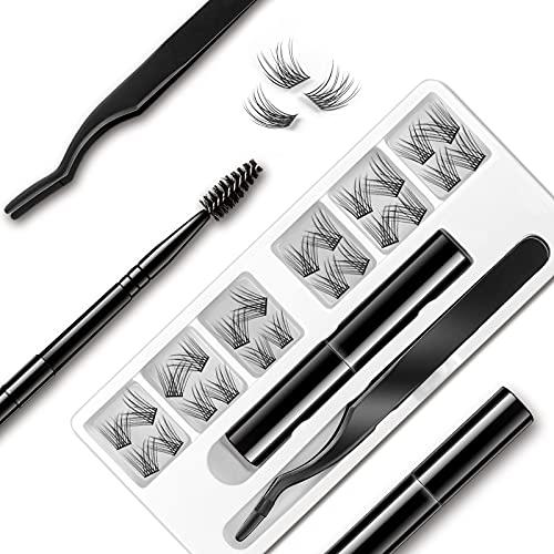 EYELASHEVOLUTION DIY Eyelash Extension, 3D Effect Glue Bonded Band Individual Lash 12 Clusters Volume/Natural Lashes Set, Home Eyelash Extension, C curl Lashes Pack (Kit-Natural)