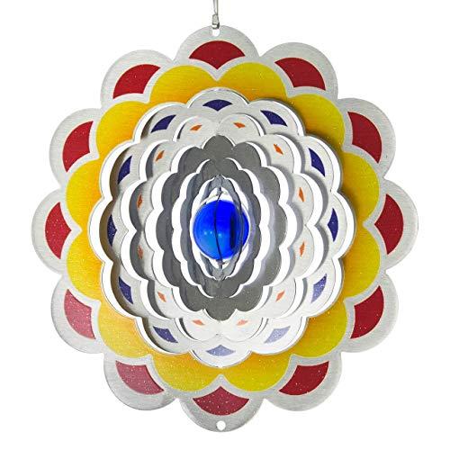 CIM Carillon éolien en en acier inoxydable - Fleur 200 - Coloré des deux côtés - Avec crochet, émerillon à billes et boule de cristal (rose)