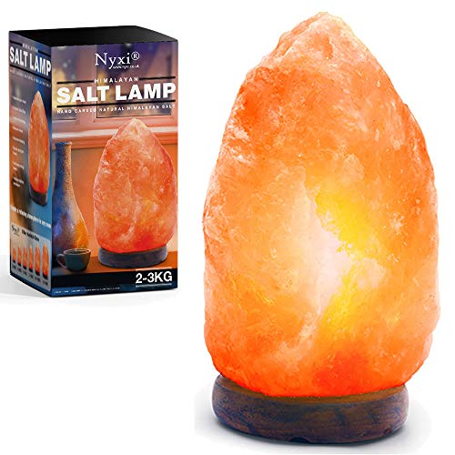 Himalayan Salt Lamp 100% Natural & Hand Crafted with Wooden Base Premium Quality Crystal Rock Lamp C (2-3 Kg)