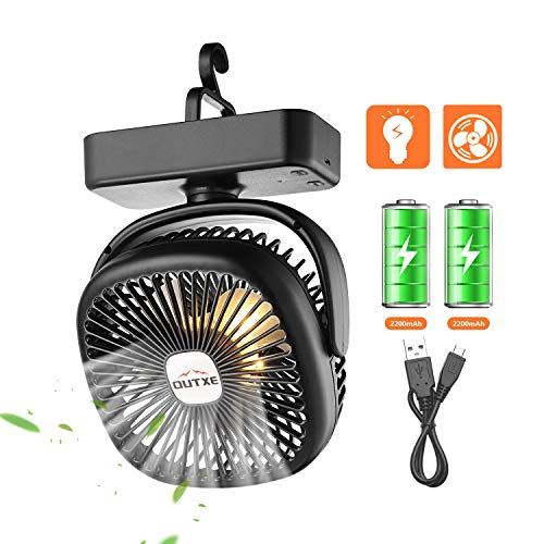 OUTXE Camping Fan with Night Lights USB Rechargeable Tent Fan 4400mAh Personal USB Camping Fan Lightweight
