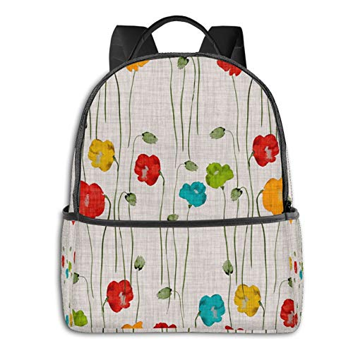 Green Flowers Of Poppies Backpack Shoulder Bag Travel Bags Laptop Bag School Bag For Men Women