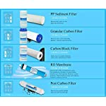 """Geekpure Universal Compatible 5 Stage Reverse Osmosis Replacement Filter Set with 100 GPD Membrane -10 Inch 8 Universal Compatible standard 10"""" reverse osmosis replacement filter cartridges,size:2.5""""OD x 10"""" height,Fits almost standard sized 5 or 6 stage reverse osmosis systems Pack of 8-Includes (1)PP Sediment ,(1)Gruanlar Activated Carbon ,(1) Carbon Block Filter,(1)100 GPD Reverse Osmosis Membrane, (1) Post inline Carbon Filter.(2) 1/4""""NPT quick fittings, (1) Roll Teflon seal tape.NOTE: THE LAST STAGE POST CARBON IS 1/4""""NPT THREAD INLET AND OUTLET NSF certificated RO membrane filters down to 0.0001 micron,Reduce 99% contaminant ,including Heavy Metal Arsenic,Lead,Mercury,Fluoride,Hardness,Cadmium,Chlorine,Taste and more 1000+ contaminants to provide healthy, safe and pure water"""