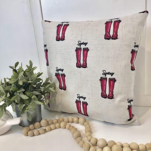 Ja242oe Kissenbezug, Motiv Frühlings-Stiefel, 40,6 x 40,6 cm, quadratisch, Urlaub, Weihnachten, Einweihung, modernes Sofa