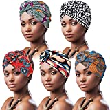 DRESHOW 5 Piezas Africano Turbante para Mujer Gorro de Nudo Pre Atado Suave Pañuelo de Cabeza Plisada de Moda Gorra de Dormi