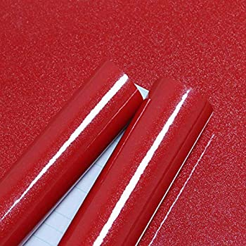 15.74''×118.11''Glossy Red Contact Paper Kitchen Peel and Stick Countertop Contact Paper Self-Adhesive Removable Glitter Contact Paper Waterproof Wallpaper Decorative Cabinet Shelf Drawer Vinyl Film