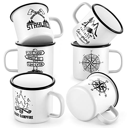 16oz White Enamel Camping Mugs Set of 6, P&P CHEF 455ml Modern Pattern Campfire Coffee Tea Cups for Camping Fishing Picnic Hiking Home Office, Wide Handle & Smooth Rim, Portable & Reusable