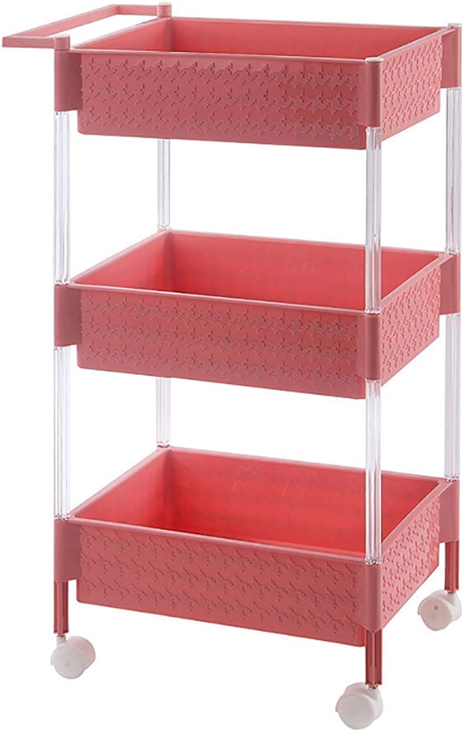 3-Tier Slide Out Removable Storage Tower Kitchen Bedroom Storage Rack Bathroom Shelf with Wheels