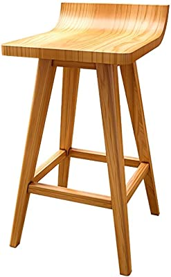Solid Wood Stool, Bartender Chair Wooden Frame Reception Chair Breakfast Stool Creative Kitchen Furniture,