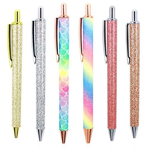 Uooker 6 Bolígrafos Retráctiles de Metal con Brillantes y