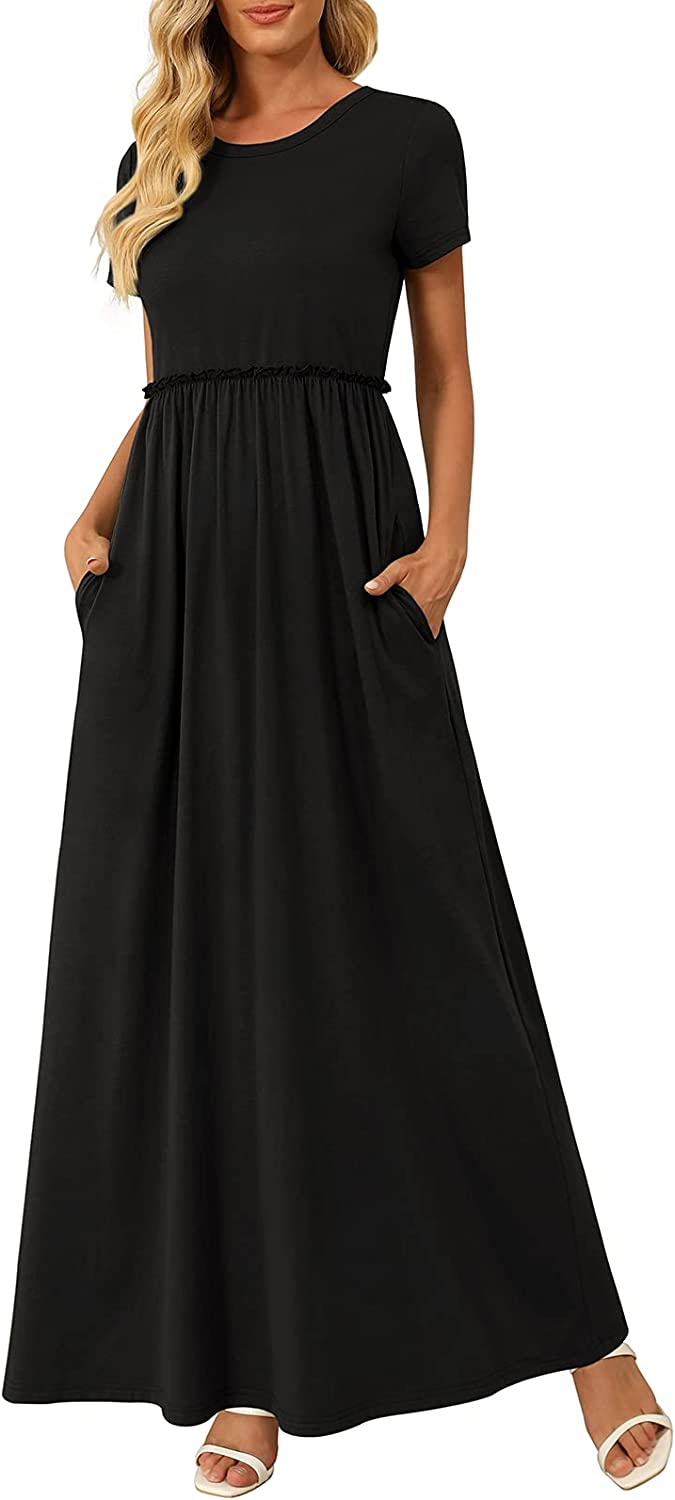 Large discharge sale Zattcas Women's Maxi Dress Short Sleeve with Long Casual Dresses Max 80% OFF