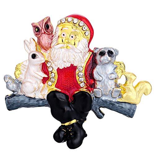 cA0boluoC Vintage Weihnachtsbrosche für Jacken, Rucksäcke, Kleidung, Weihnachten, Weihnachtsmann, Tiere, Strass, eingelegte Brosche, Anstecknadel, Hemd, Kragen Multi