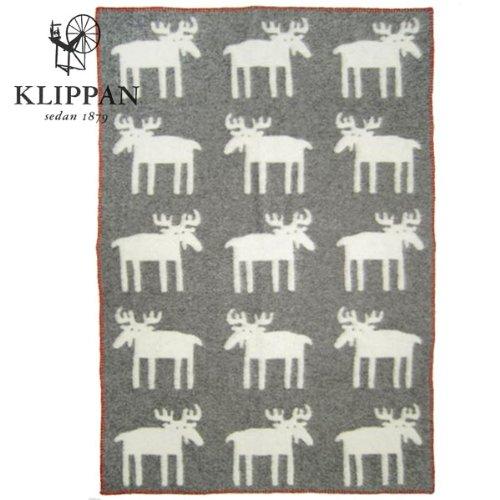 (クリッパン KLIPPAN 2013 WOOL BLANKETAS) ハーフブランケット (膝掛け) ダークグレー 北欧柄 ムース (ヘラジカ・鹿・シカ)