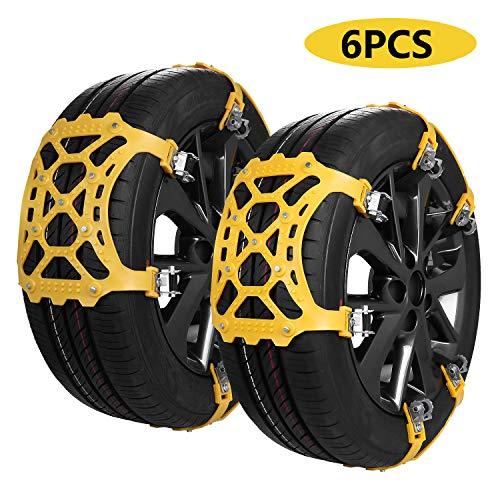 SUPTEMPO Schneeketten, Auto Schneekette Universal Anti-Rutsch Ketten für Auto SUV PKW mit Reifenbreite 165-285 mm, Set mit 6 Stück