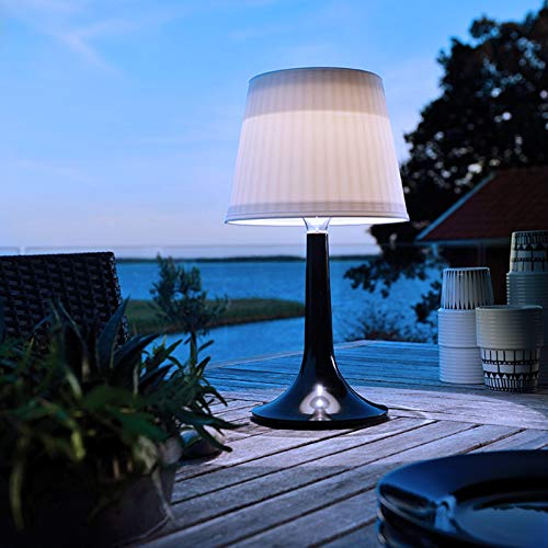 LED Solar Table Lamp Outdoor Indoor Desk Lamp White Night Lights Garden Patio Solar Table Lights, Auto ON/Off, 2 Lighting Modes(Black)