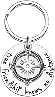 Best Friend Gift Keychain for Women Men Teen Girls True Friendship Knows No Distance Long Distance Friendship Going Away Compass Gifts Keyring Jewelry Birthday Wedding