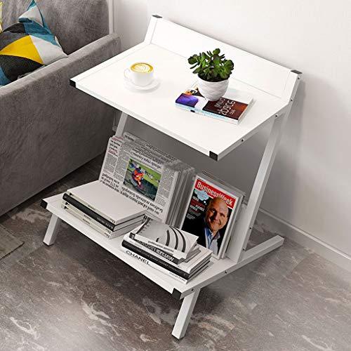 YSXCFZC Kaffee-Tee-Tabelle Schlafsofa Side Beistelltisch Night Stand Snack Tabelle Laptop Büro-Tabelle Bücher Magazine lesen Tabelle 2 Schichten Lagerung (Color : White)