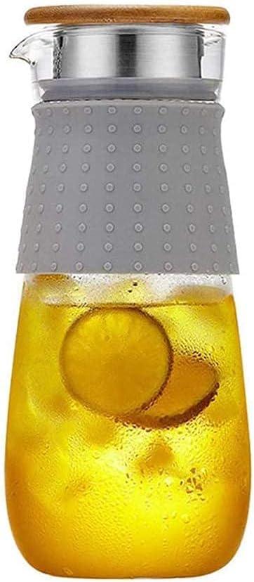 Tarro de vidrio con tapa y n. ° Frasco de vidrio con tapa y sin fugas de agua Taza 100% libre de BPA Wine Division Tetera de té helado con tapa Jarra de uso Transparente 1850ML