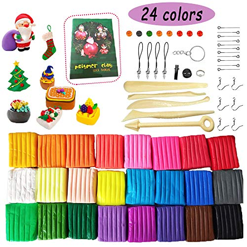 24 Blocks Polymer Clay,Oven Bake Modeling Clay,Baking Clay Block with Tools and Accessories for Children,Artists,DIY Crafts