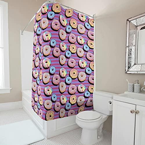 OwlOwlfan Cortina de ducha rosa con diseño de donut lavable tela de poliéster impreso accesorios de baño con agujeros y ganchos para bañeras de baño blanco 91x180 cm