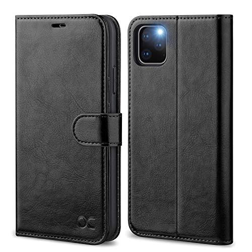 OCASE iPhone 11 Pro MAX Hülle Handyhülle [Premium Leder] [Standfunktion] [Kartenfach] [Magnetverschluss] Tasche Flip Hülle Etui Schutzhülle Leder für iPhone 11 Pro MAX Cover Schwarz