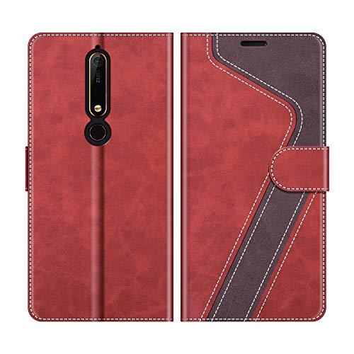 MOBESV Handyhülle für Nokia 6.1 Hülle Leder, Nokia 6.1 Klapphülle Handytasche Hülle für Nokia 6.1 Handy Hüllen, Modisch Rot