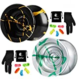 MAGICYOYO N11 Professional Unresponsive Yoyo Alloy Aluminum YoYo Ball with 2 Bags, 2 Gloves and 10 Strings -N11 Silver Green and N11 Black Golden