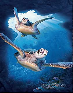 3D Home Wall Art Decor Lenticular Pictures, Ocean Collection Holographic Flipping Images, 12x16 inches Animal Poster Painting, Without Frame, Happy Sea Turtle